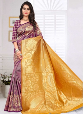 Thread Work Gold and Purple Traditional Saree