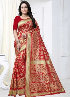 Thread Work Banarasi Silk Contemporary Saree