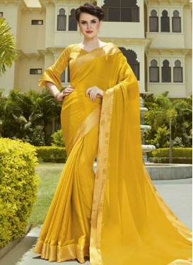 Lace Work Chiffon Satin Trendy Classic Saree