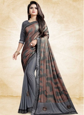 Brown and Grey Half N Half Saree For Festival