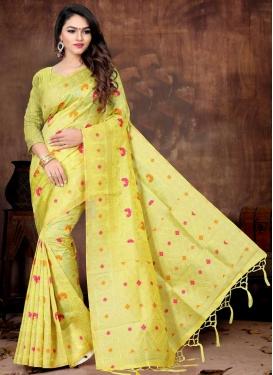 Thread Work Linen Trendy Saree