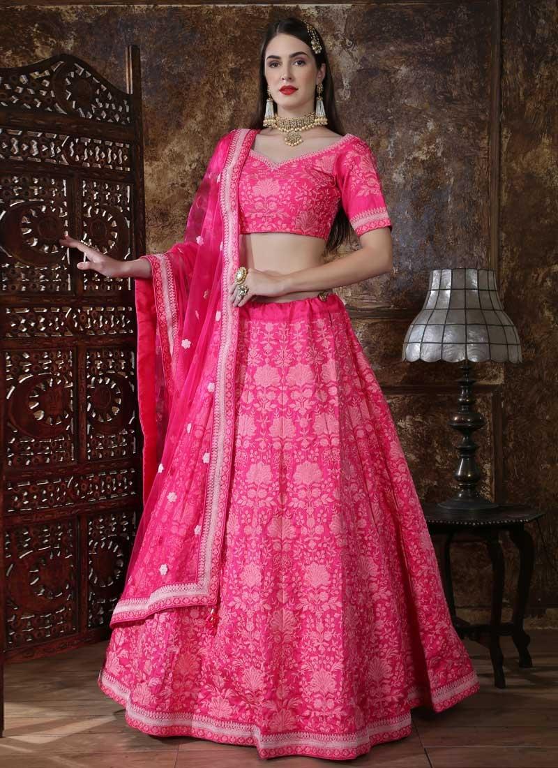 Silk Aari Work A Line Lehenga Choli