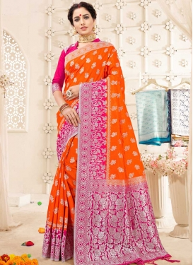 Orange and Rose Pink Designer Contemporary Saree For Ceremonial