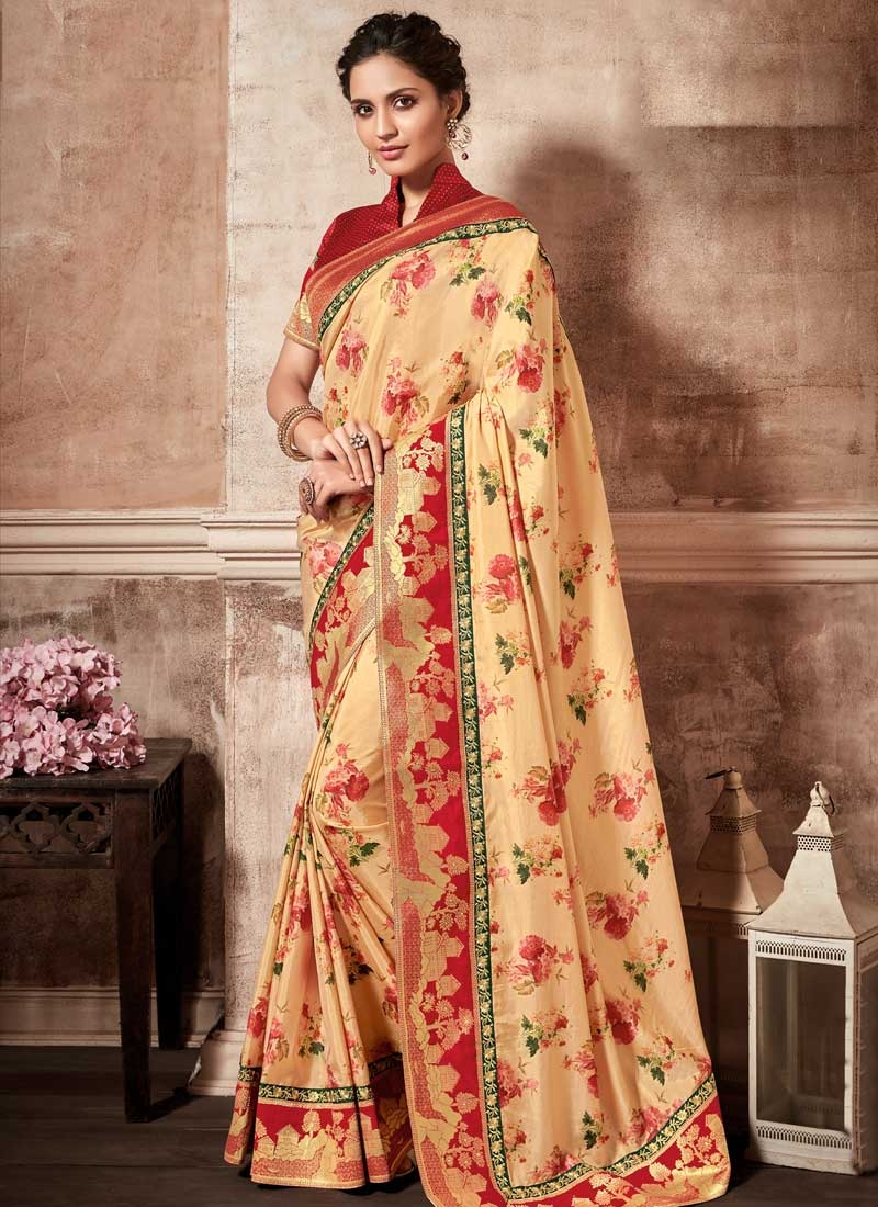 Cream and Red Digital Print Work Classic Saree