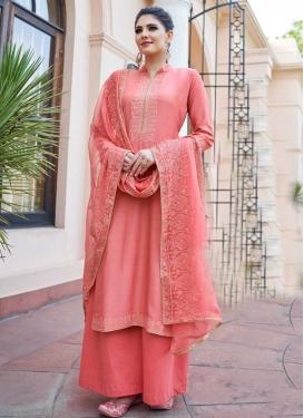 Cotton Satin Palazzo Style Pakistani Salwar Kameez