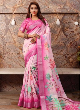 Pink and Rose Pink Trendy Classic Saree For Ceremonial