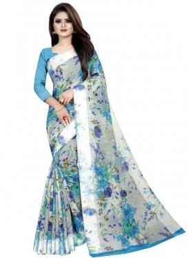 Linen Light Blue and Silver Color Digital Print Work Trendy Saree