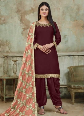 Satin Designer Semi Patiala Suit