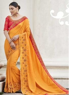Satin Silk Orange and Rose Pink Contemporary Style Saree