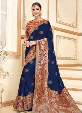 Art Silk Navy Blue and Orange Embroidered Work Classic Saree