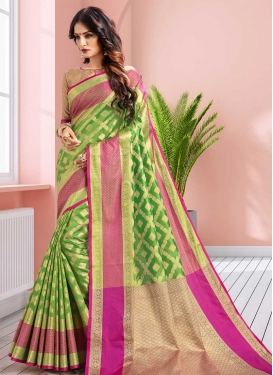 Thread Work Mint Green and Rose Pink Trendy Classic Saree