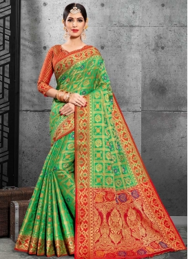 Mint Green and Red Traditional Saree For Ceremonial