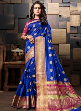 Cotton Silk Blue and Rose Pink Thread Work Contemporary Saree