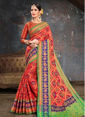Patola Silk Mint Green and Tomato Trendy Classic Saree For Ceremonial