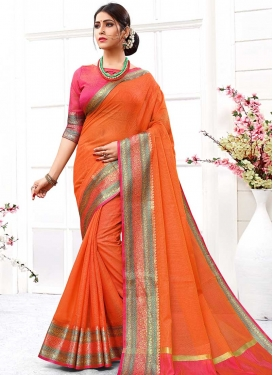 Orange and Rose Pink Thread Work Designer Contemporary Saree