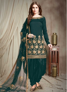 Tafeta Silk Embroidered Work Designer Patiala Salwar Suit