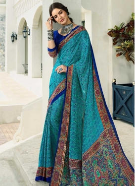 Blue and Turquoise Trendy Classic Saree