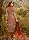 Embroidered Work Orange and Red Cotton Satin Pant Style Salwar Kameez - 2