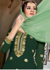 Embroidered Work Faux Georgette Bottle Green and Mint Green Designer Palazzo Salwar Kameez - 1