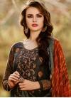 Black and Orange Cotton Satin Pant Style Pakistani Suit - 1