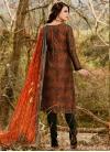 Black and Orange Cotton Satin Pant Style Pakistani Suit - 2