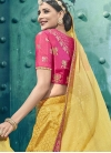 Silk Rose Pink and Yellow A Line Lehenga Choli - 1