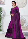 Black and Purple Fancy Fabric Designer Contemporary Style Saree - 1