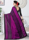 Black and Purple Fancy Fabric Designer Contemporary Style Saree - 2
