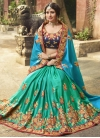 Light Blue and Sea Green Satin Silk Half N Half Saree For Bridal - 1