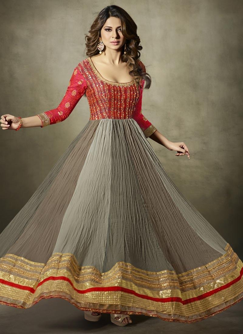 149d74fa45 ... Grey and Red Jennifer Winget Floor Length Anarkali Suit For Festival -  1 ...