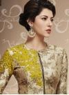Fancier Silk Beige and Gold Aari Work Designer Palazzo Salwar Kameez - 1