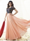 Faux Georgette Navy Blue and Salmon Ankle Length Anarkali Salwar Suit - 2