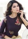 Cream and Purple Trendy Designer Salwar Kameez For Festival - 1