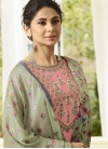Grey and Pink Embroidered Work Palazzo Style Pakistani Salwar Suit - 1