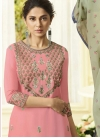 Grey and Pink Embroidered Work Palazzo Style Pakistani Salwar Suit - 2
