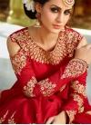 Beige and Red Aari Work Kameez Style Lehenga Choli - 1