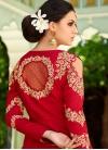 Beige and Red Aari Work Kameez Style Lehenga Choli - 2