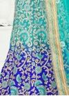 Invaluable Beads Work Art Silk Aqua Blue and Blue A Line Lehenga Choli - 1