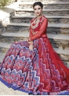 Blue and Red Digital Print Work Long Choli Lehenga - 1