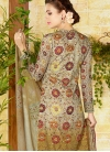 Print Work Beige and Brown Pant Style Straight Salwar Suit - 2