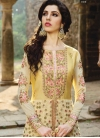 Embroidered Work Faux Georgette Cream and Yellow Trendy Designer Salwar Suit - 2