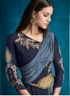 Grey and Navy Blue Embroidered Work Readymade Designer Gown - 1