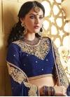 Staring Navy Blue Color Silk Half N Half Wedding Saree - 1