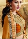 Sumptuous Patch Border And Beads Work Half N Half Designer Saree - 1
