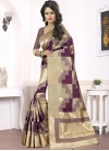 Beige and Purple Trendy Classic Saree For Festival - 2
