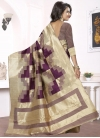 Beige and Purple Trendy Classic Saree For Festival - 1