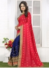 Riveting Bamberg Georgette Navy Blue and Red Half N Half Trendy Saree For Ceremonial - 2