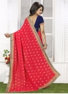 Riveting Bamberg Georgette Navy Blue and Red Half N Half Trendy Saree For Ceremonial - 1