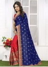 Whimsical  Embroidered Work Navy Blue and Red Half N Half Designer Saree - 2