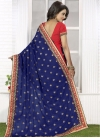 Whimsical  Embroidered Work Navy Blue and Red Half N Half Designer Saree - 1